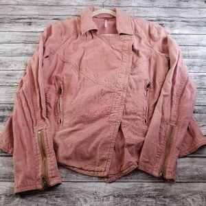 Free People Rosewood Washed Linen Blend Jacket